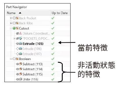 部件導航器中的特徵設計組管理